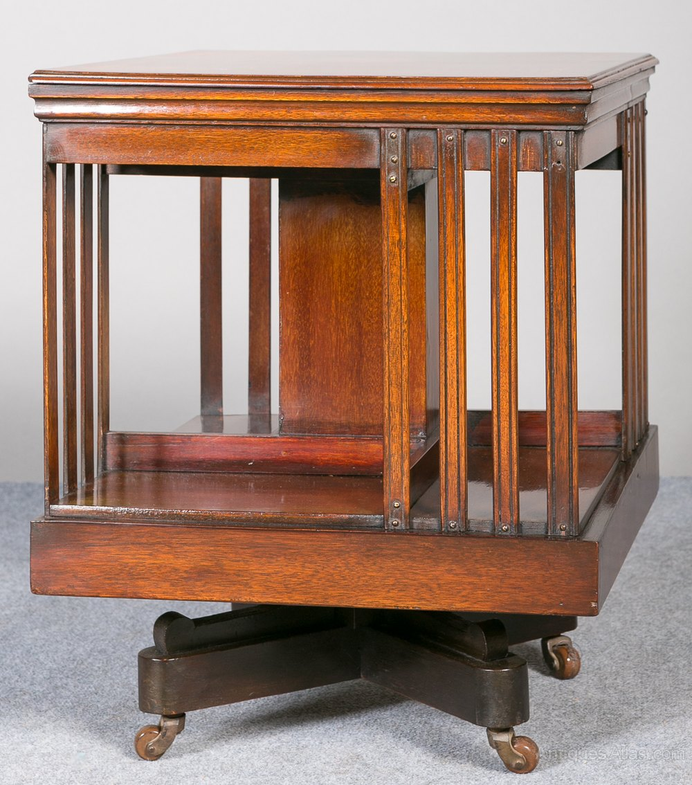 Small edwardian revolving bookcase antiques atlas for Revolving end table
