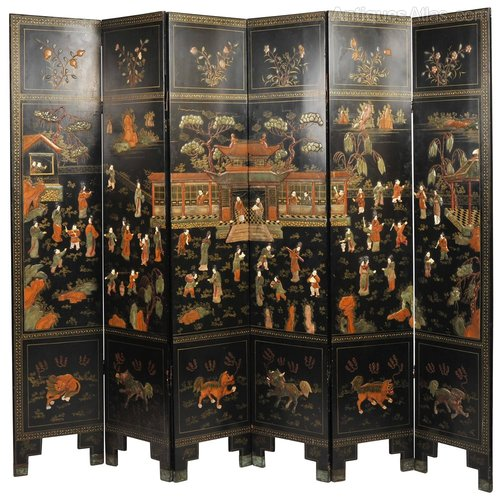 19th C Black Lacquer Chinese Folding Screen Antiques Atlas