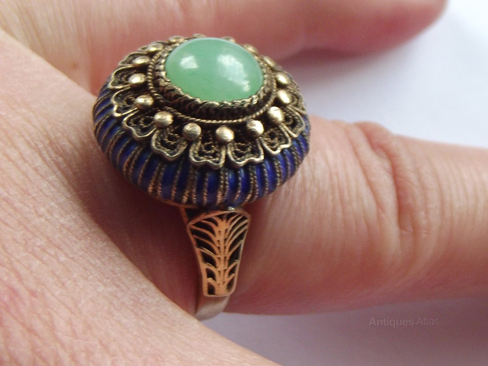 Antiques Atlas A Chinese Jade Cabochon Silver Amp Enamel