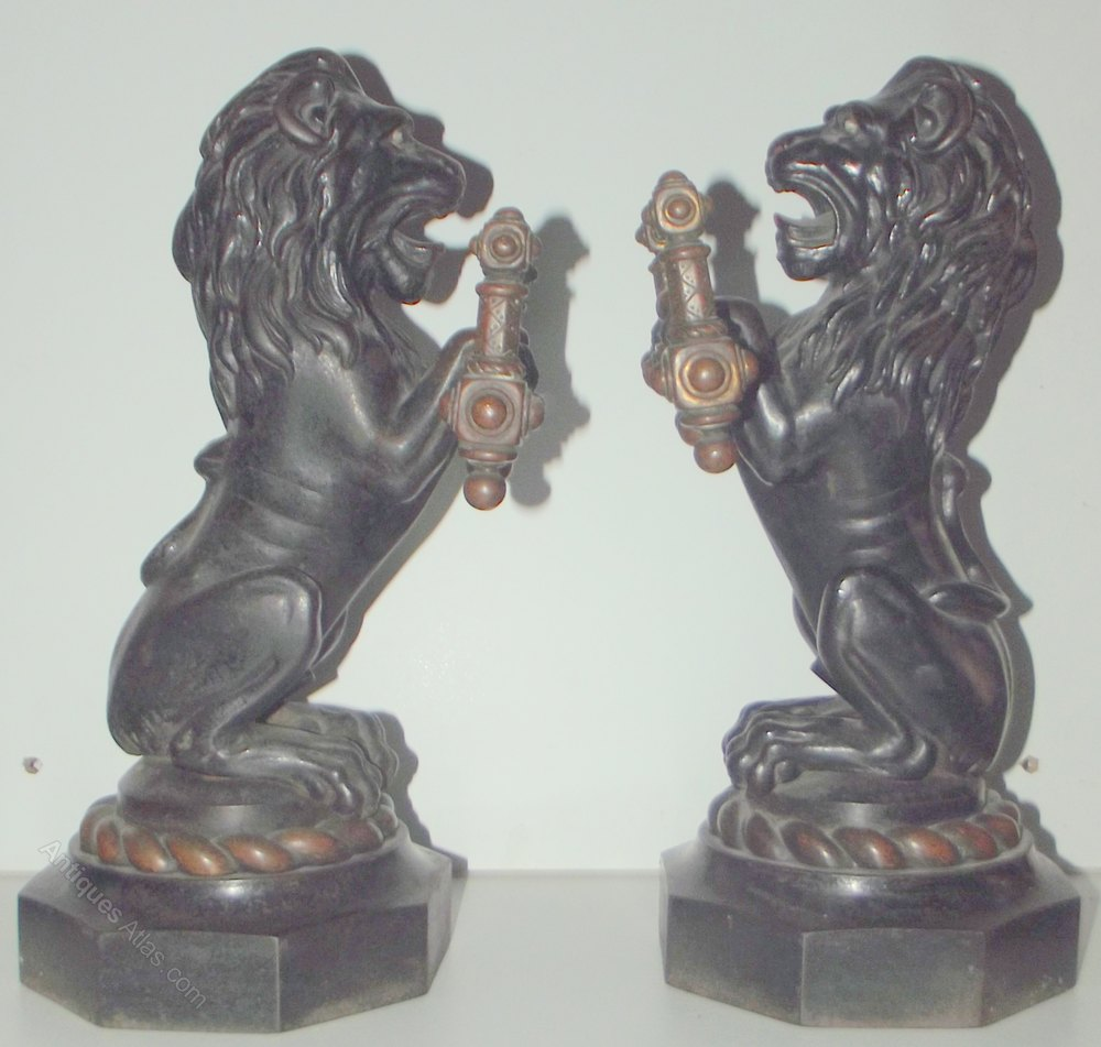 Antiques Atlas Quality Pair Victorian Cast Iron Lion Andirons