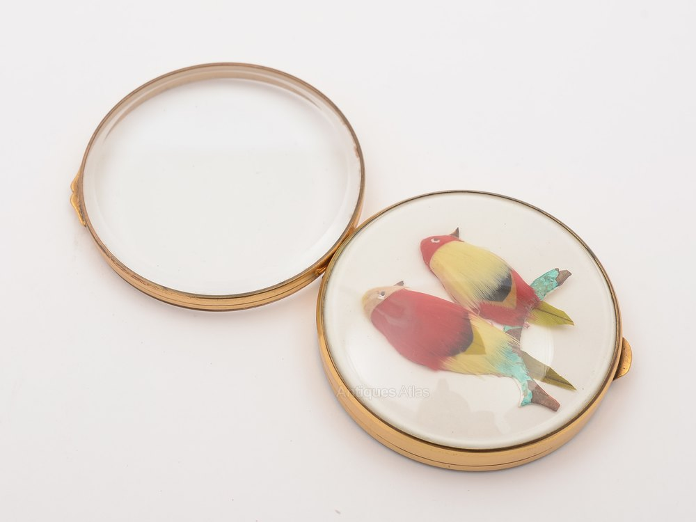 Antiques atlas brass and glass mirror compact circa 1920 for Glass and mirror