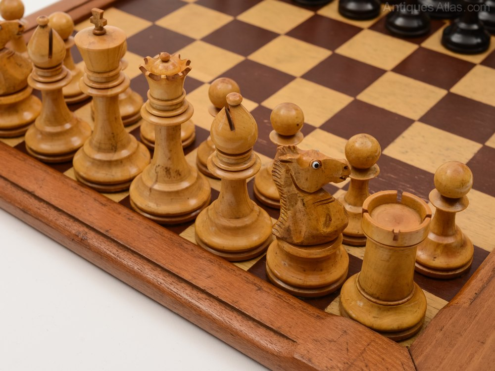 Antiques Atlas Edwardian Stained Box Wood Chess Set