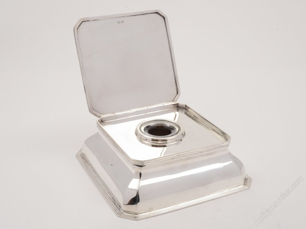Antiques atlas large art deco silver and glass ink stand for Grand interior designs kings heath