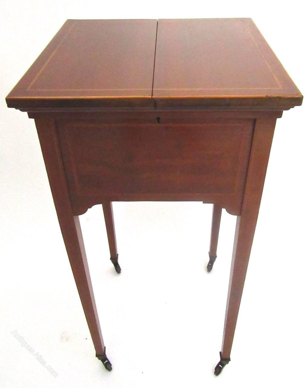 mahogany inlaid sewing table by harrods of london. Black Bedroom Furniture Sets. Home Design Ideas