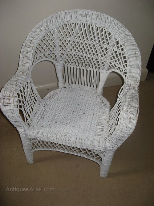 White Painted Wicker Chair Antiques Atlas