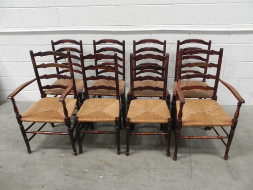 8 Country Ladder Back Rush Seat Chairs - Antiques Atlas - Antique Ladder Back Chairs With Rush Seats Antique Furniture