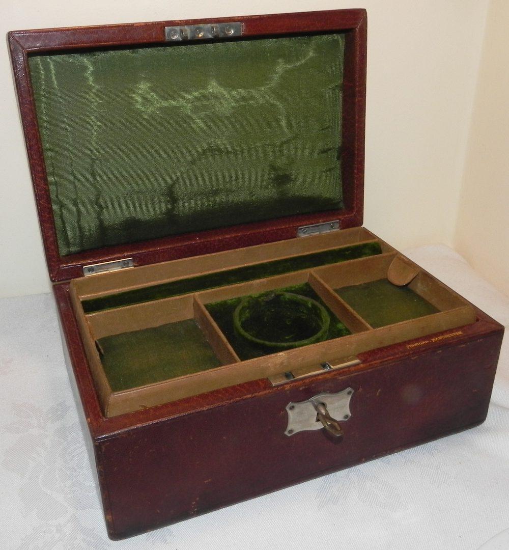 Antiques Atlas Antique 19c Leather Jewellery Box Amp Key