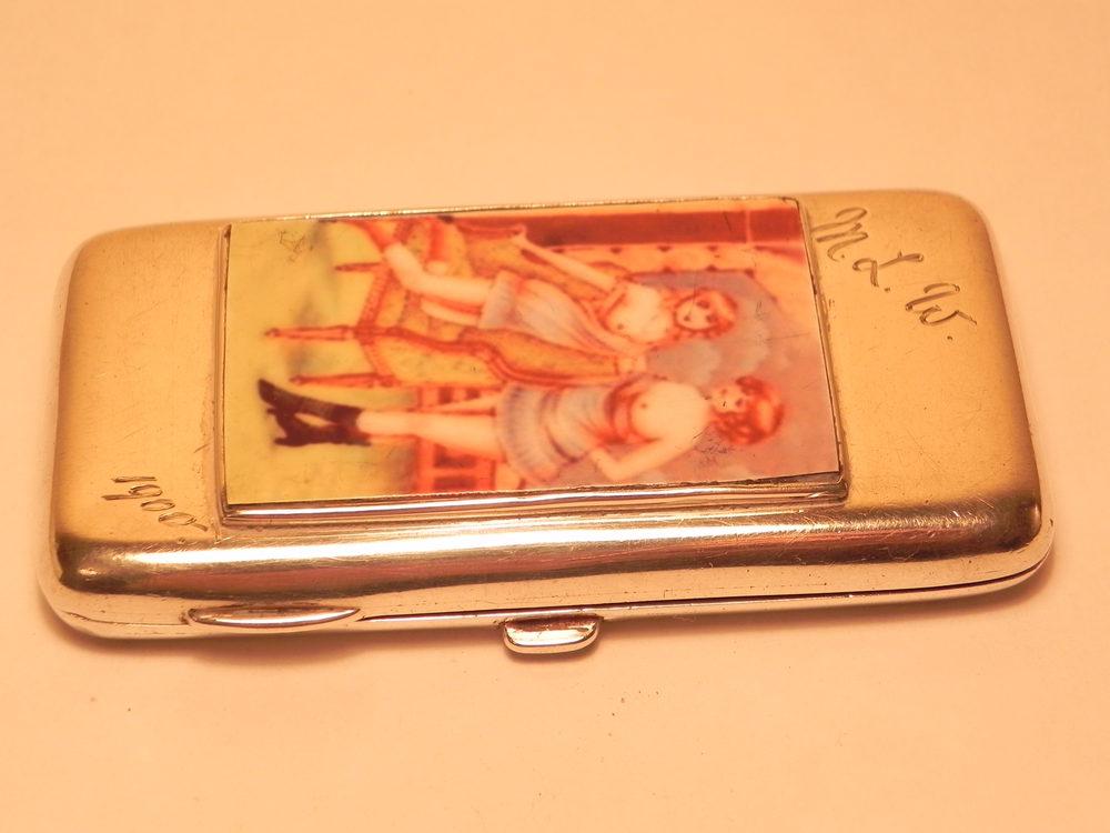 Antiques Atlas - Solid Silver Risque Enamel Cigarette Case