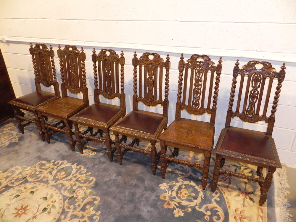 Antique Victorian Ornate Oak Carved Dining Chairs