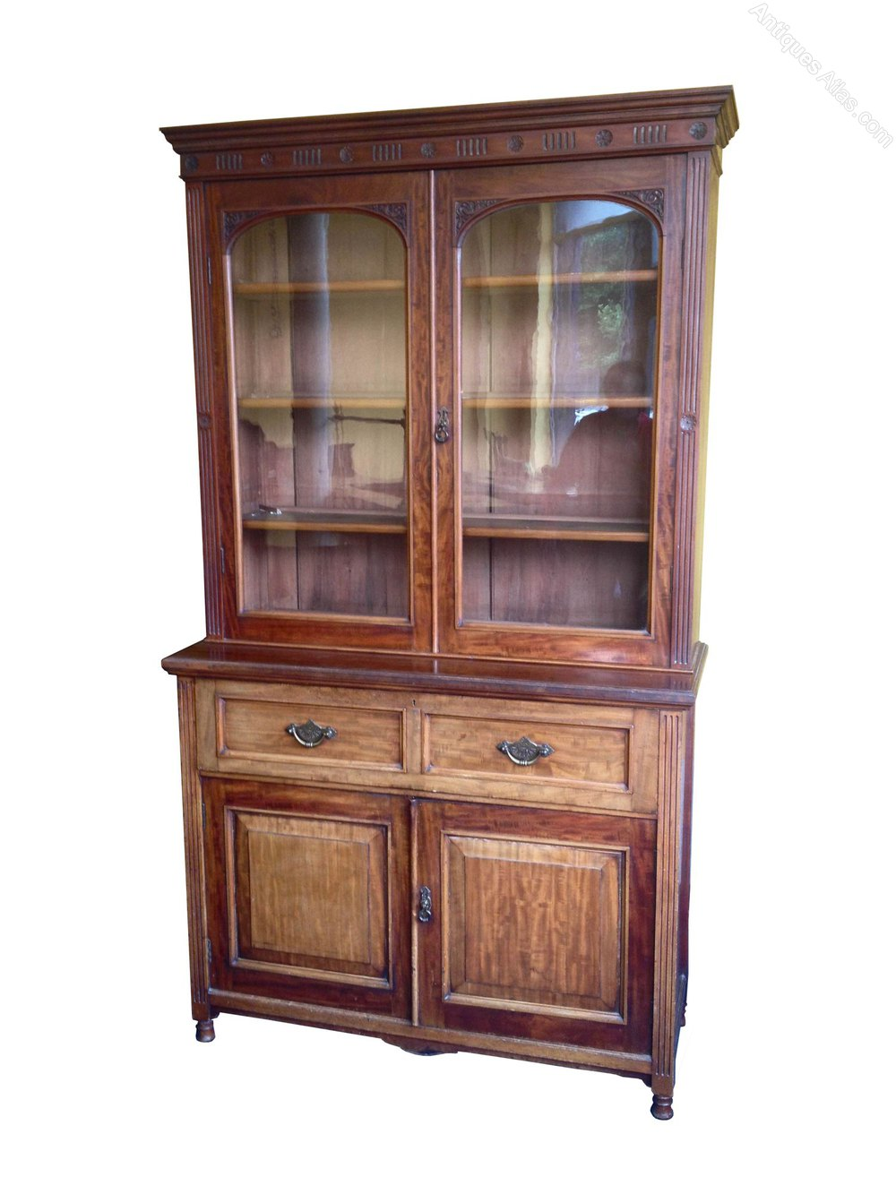 Quality Mahogany Edwardian Secretaire Bookcase Antiques