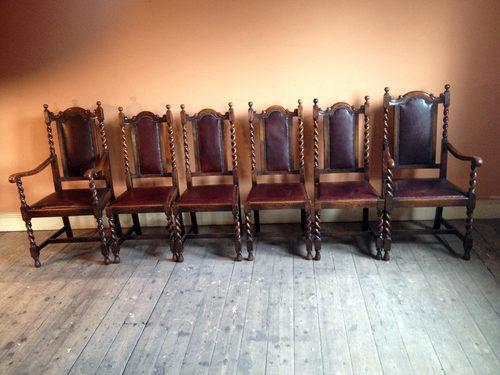 - Set Of Six Oak Barley Twist Chairs - Antiques Atlas