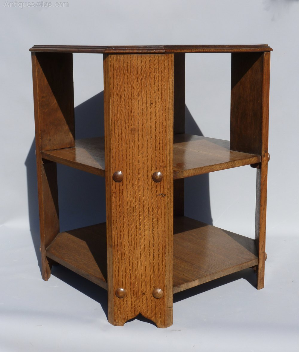 Arts and crafts oak bookcase table heals style antiques for Arts and crafts bookcase