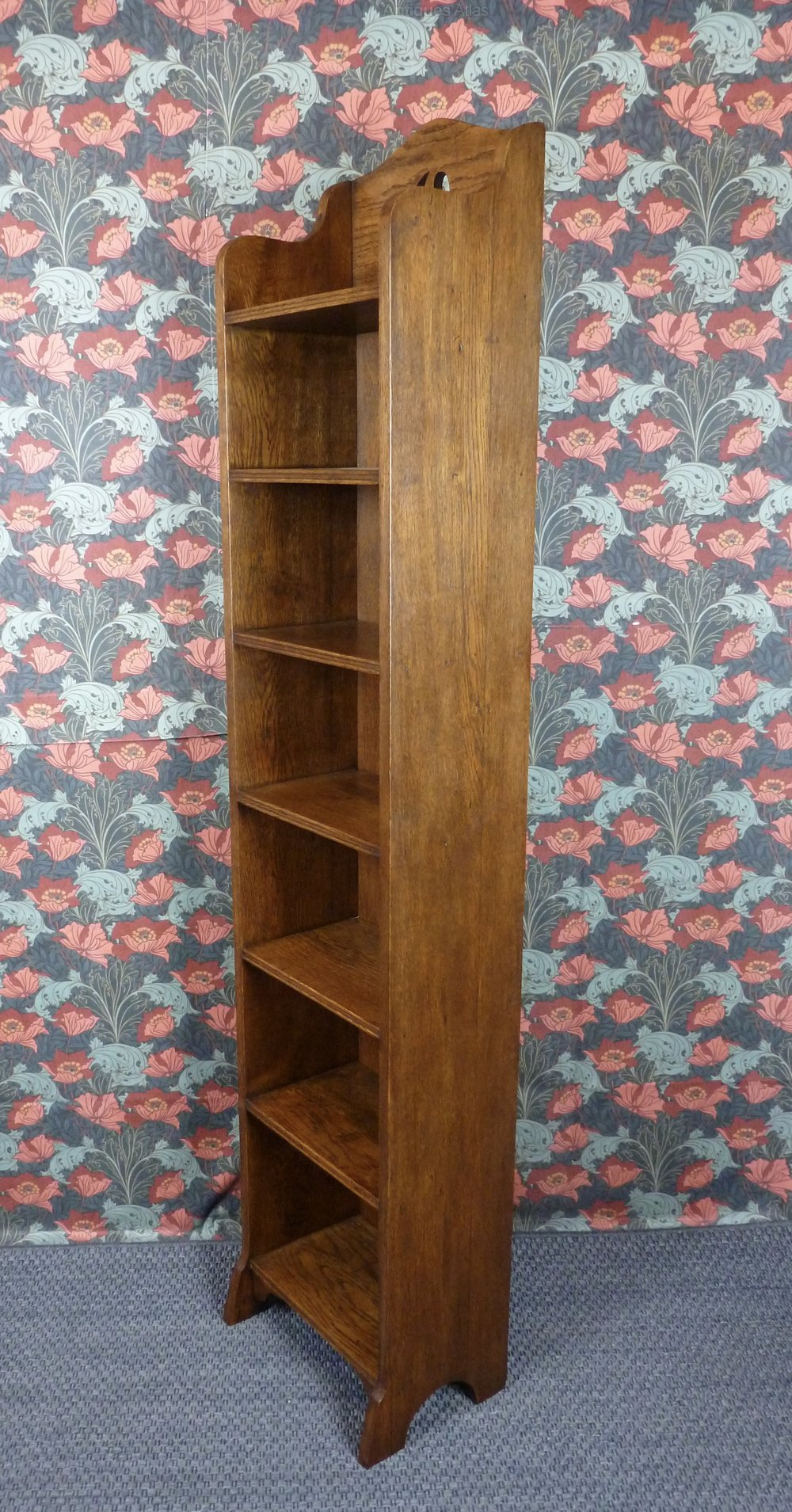 Very Tall Arts Crafts Narrow Oak Bookcase C1910 Antique Open Bookcases