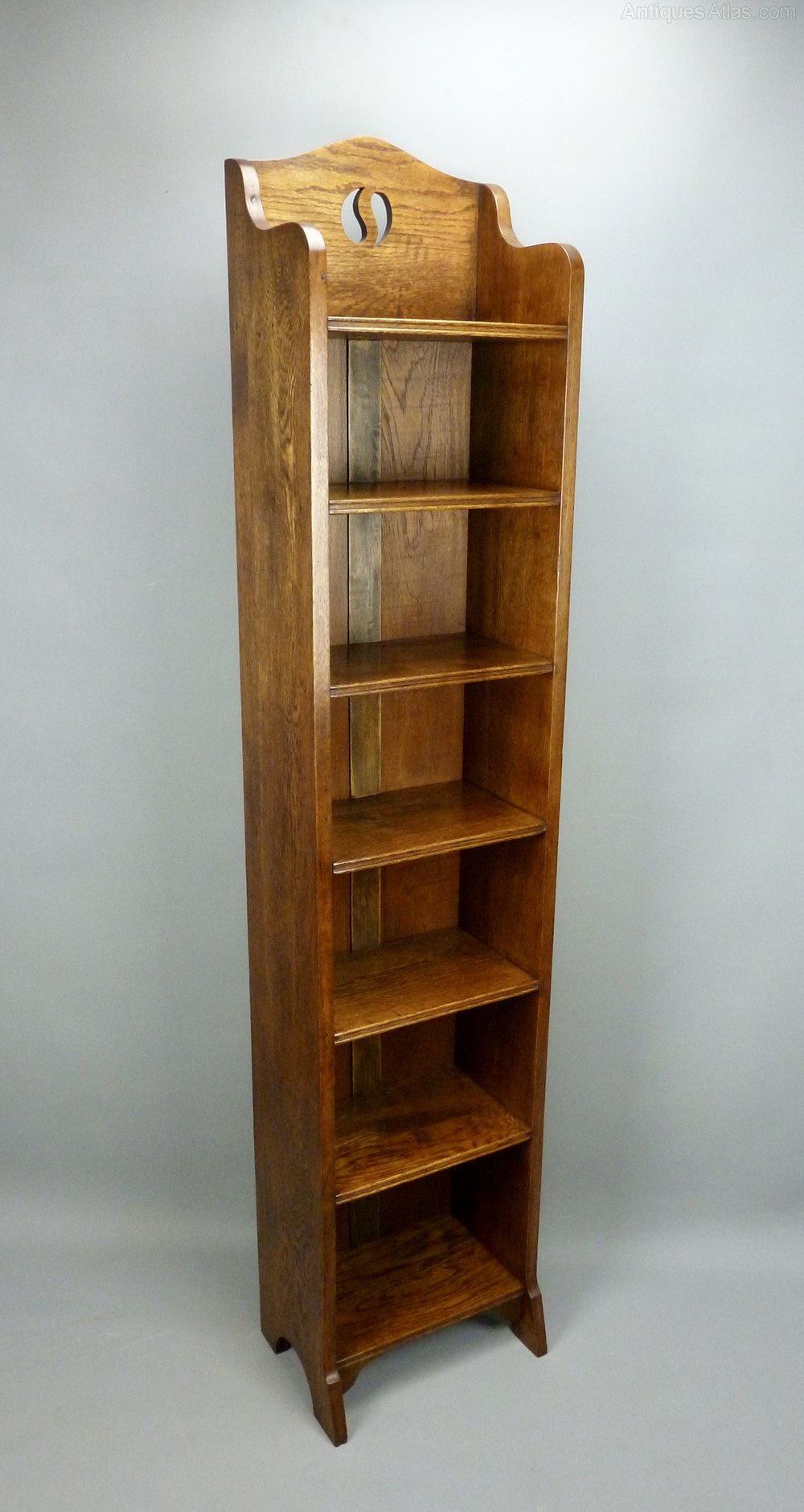 Very Tall Arts Amp Crafts Narrow Oak Bookcase C1910 Antiques Atlas