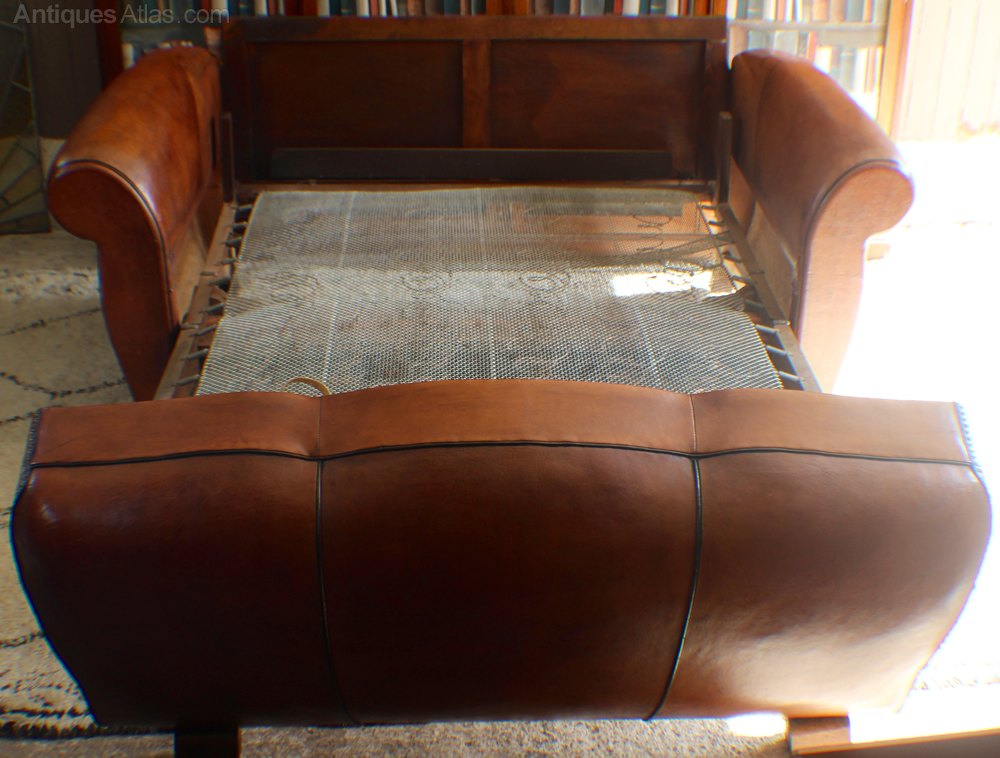 Art Deco French Leather Moustache Back Sofa Bed Antiques
