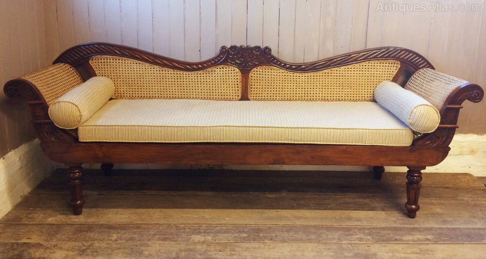 Vintage Anglo Indian Teak Amp Rattan Sofa Settle