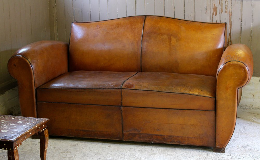 Vintage Art Deco French Leather Moustache Sofa Bed
