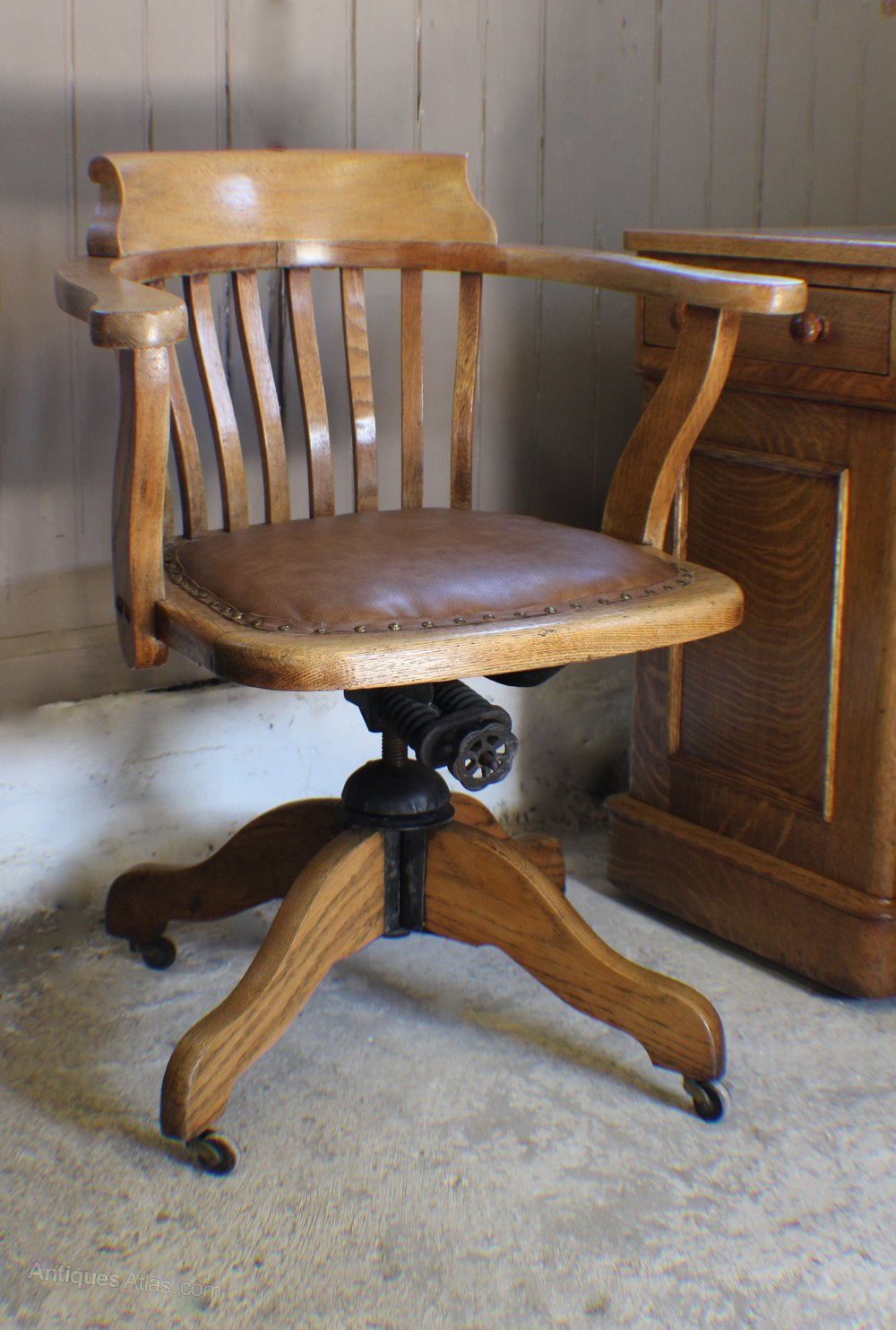 Vintage oak s adjustable desk office chair