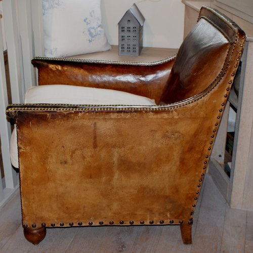 Antique French Leather Club Chair Antique Club Chairs ... - Antique French Leather Club Chair - Antiques Atlas