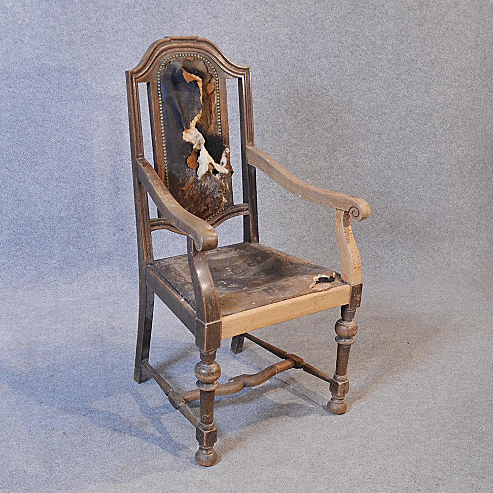 Reclaimed Armchair: Antique Armchair English Oak & Leather Carver