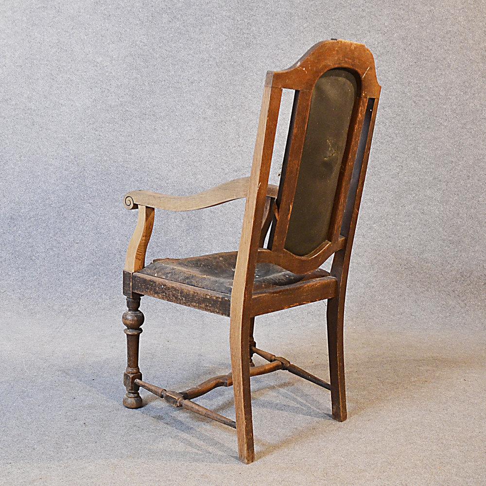 Antique Armchair English Oak & Leather Carver - Antiques Atlas
