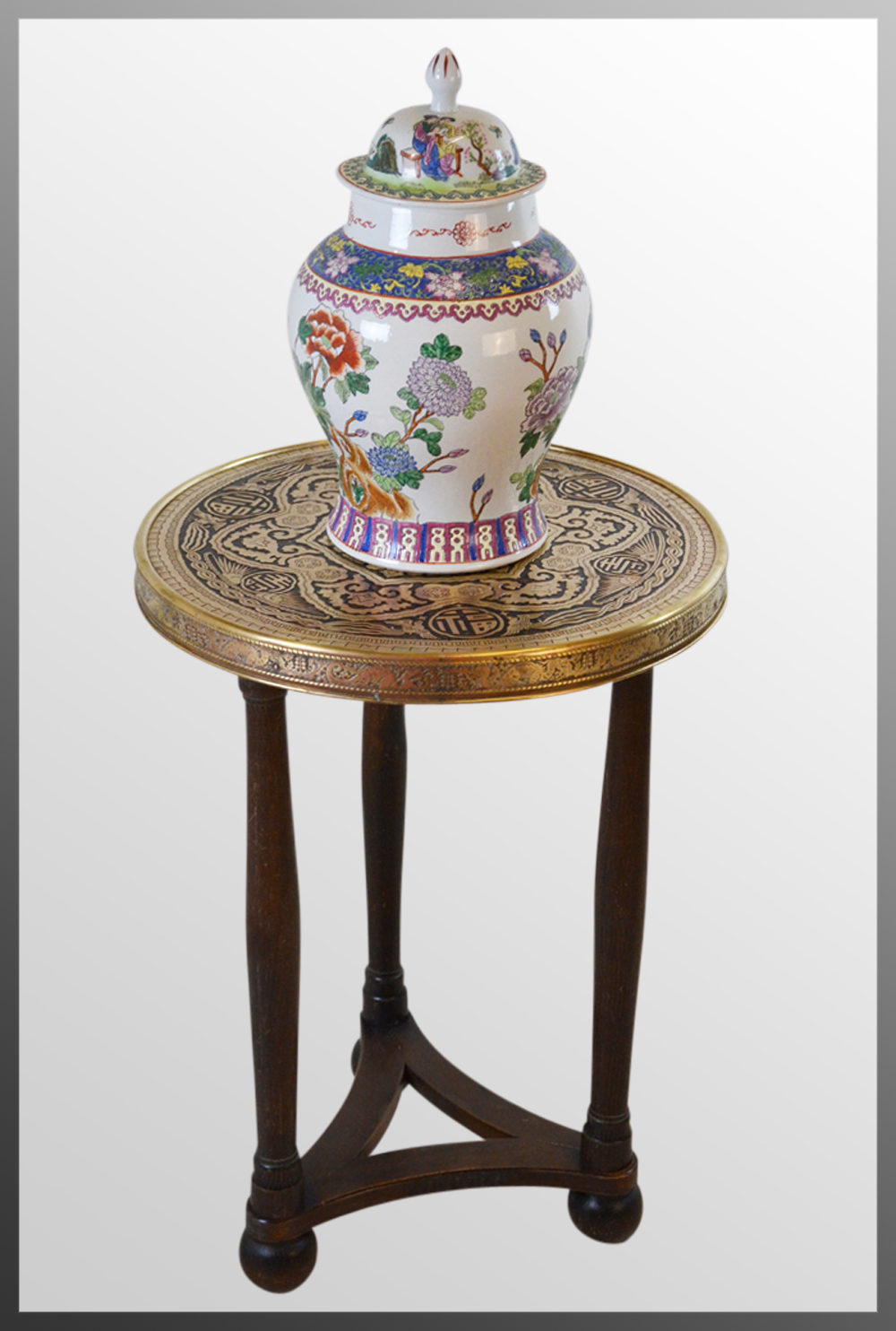 The antique coffee tea table berber benares tray lamp oriental folding - Antique Berber Benares Brass Lamp Table Oak