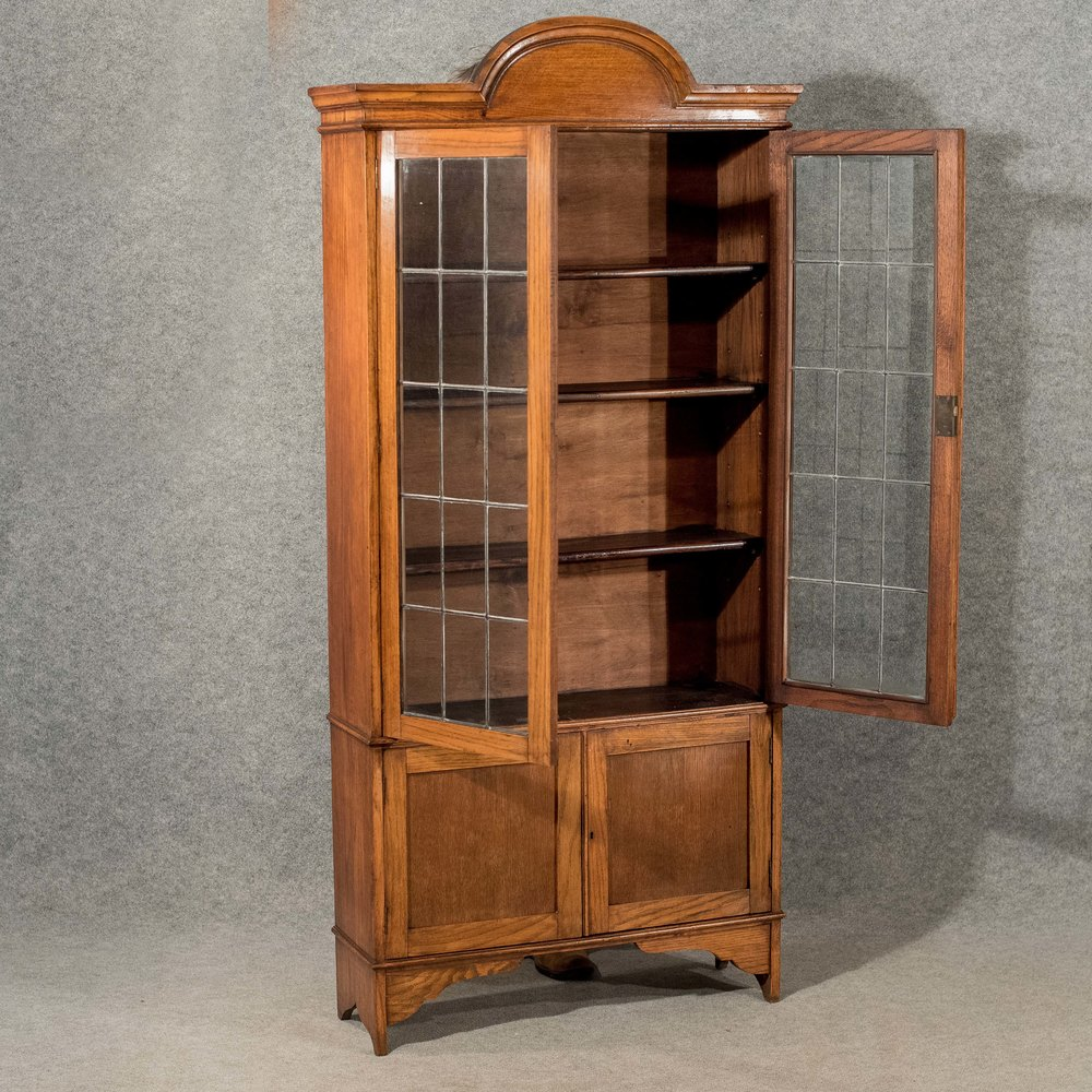 Antique bookcase display cabinet oak english antiques atlas for Antique display cabinet
