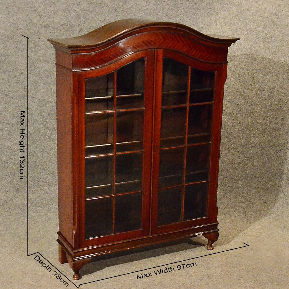 Antique bookcase display case glazed china cabinet for Antique display cabinet