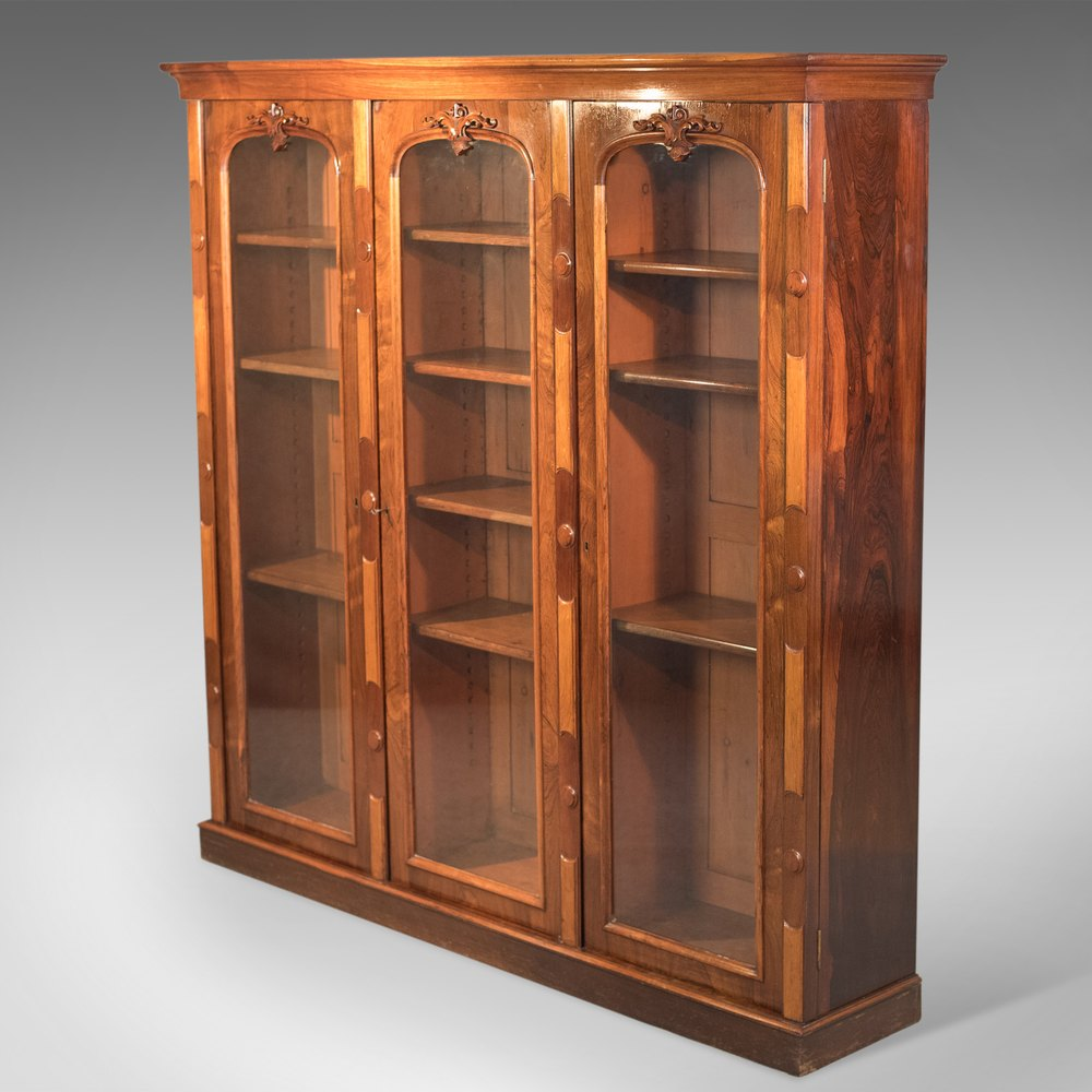 Antique bookcase regency rosewood glazed cabinet