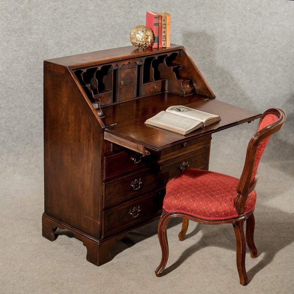 Antique bureau writing desk mahogany edwardian antiques