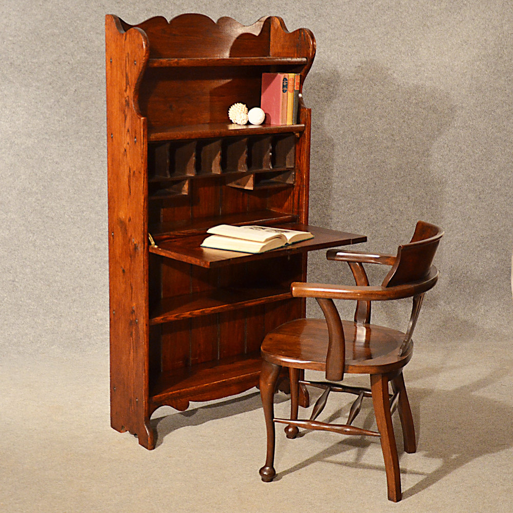 Antique bureau writing study desk bookcase oak antiques for Bureau writing desk