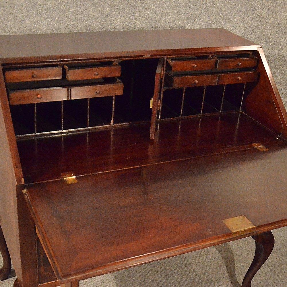 Antique bureau writing study desk quality mahogany for Bureau writing desk