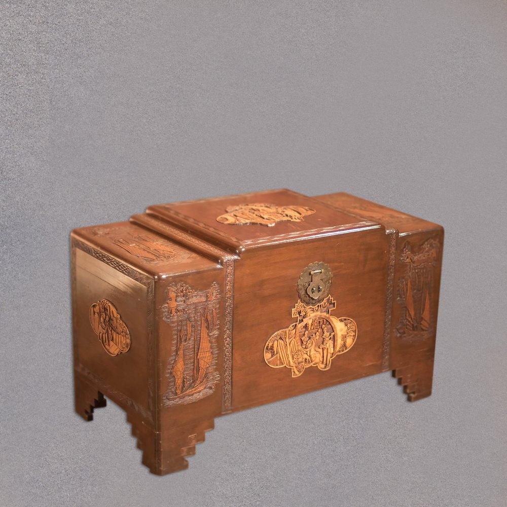 Antique chest oriental camphor wood trunk s