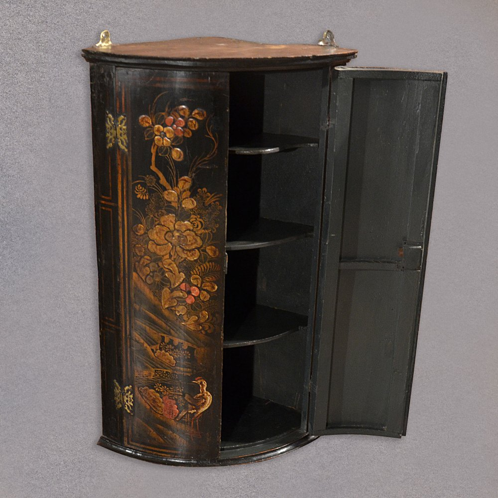 Antique Chinese Painted Corner Cabinet Bow Front