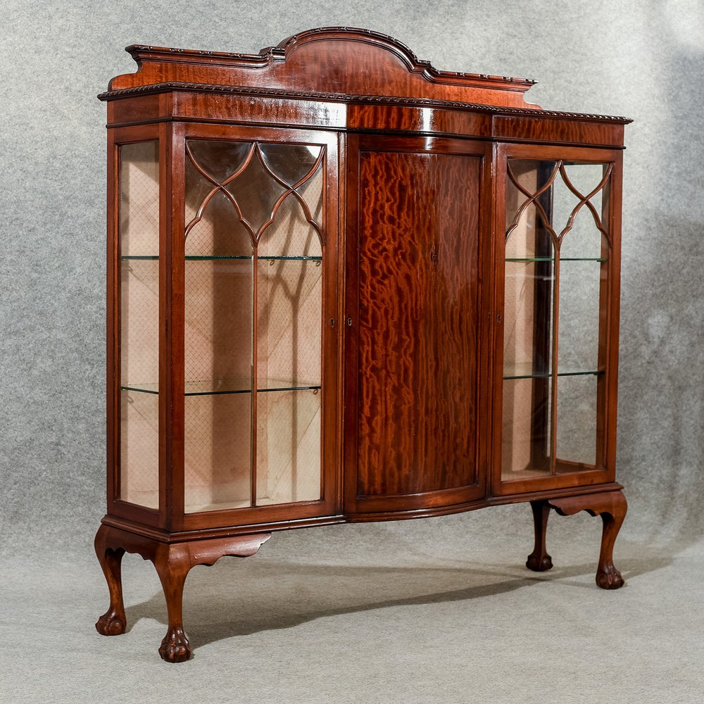 Antique display case china cabinet quality bow front for Antique display cabinet