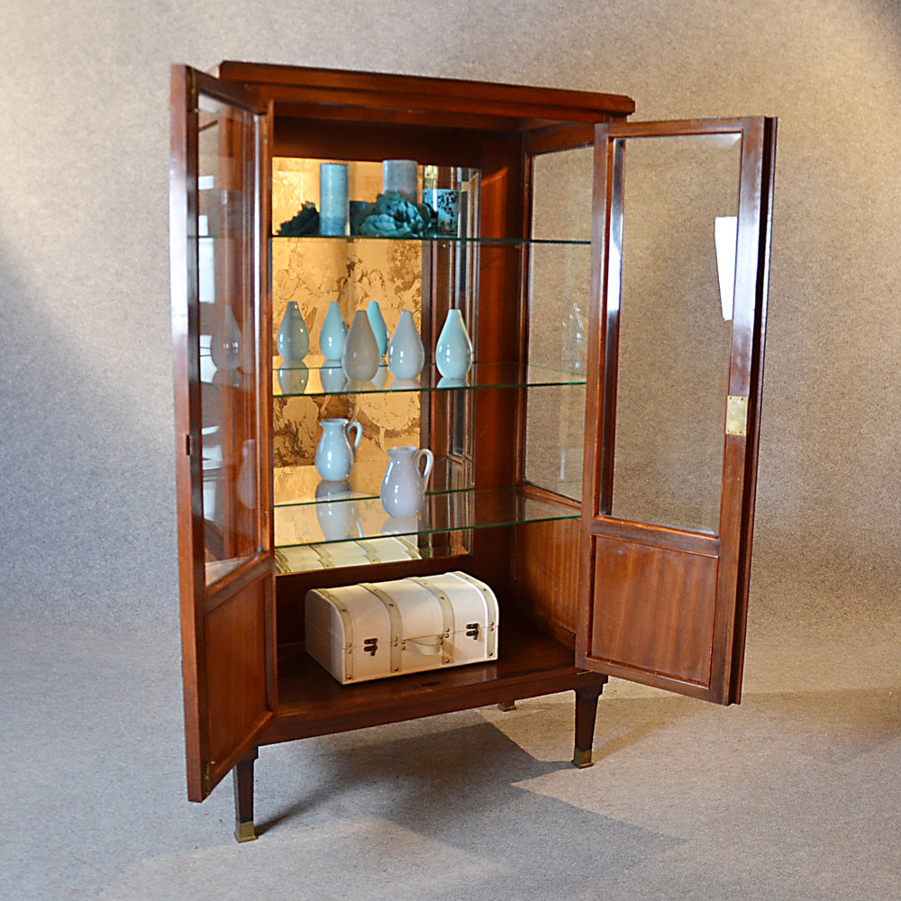 Antique display case china cabinet glazed bookcase for Antique display cabinet