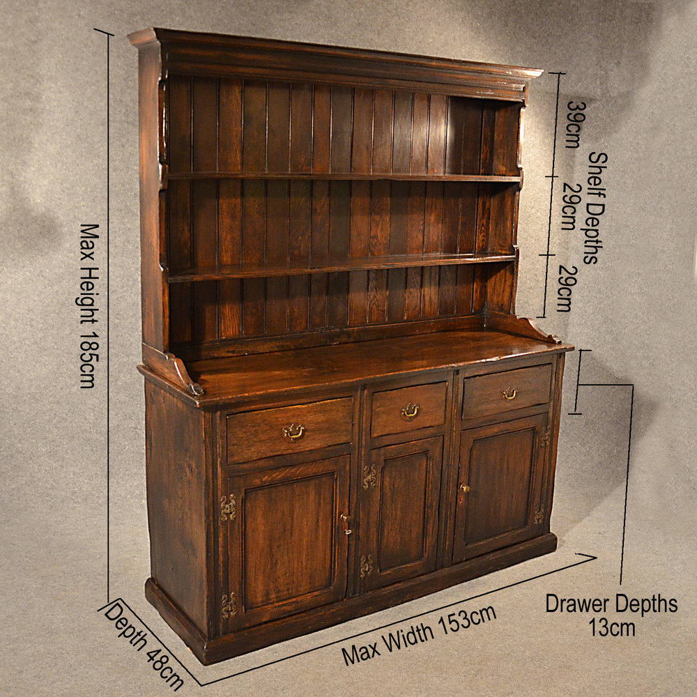 Antique Elm Welsh Dresser Country Kitchen Display