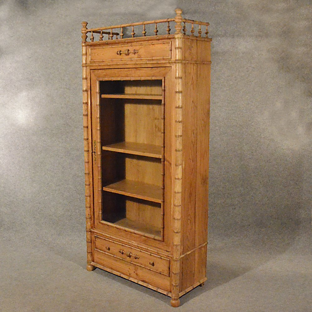 Antique large tall pine display cabinet bookcase for Antique display cabinet
