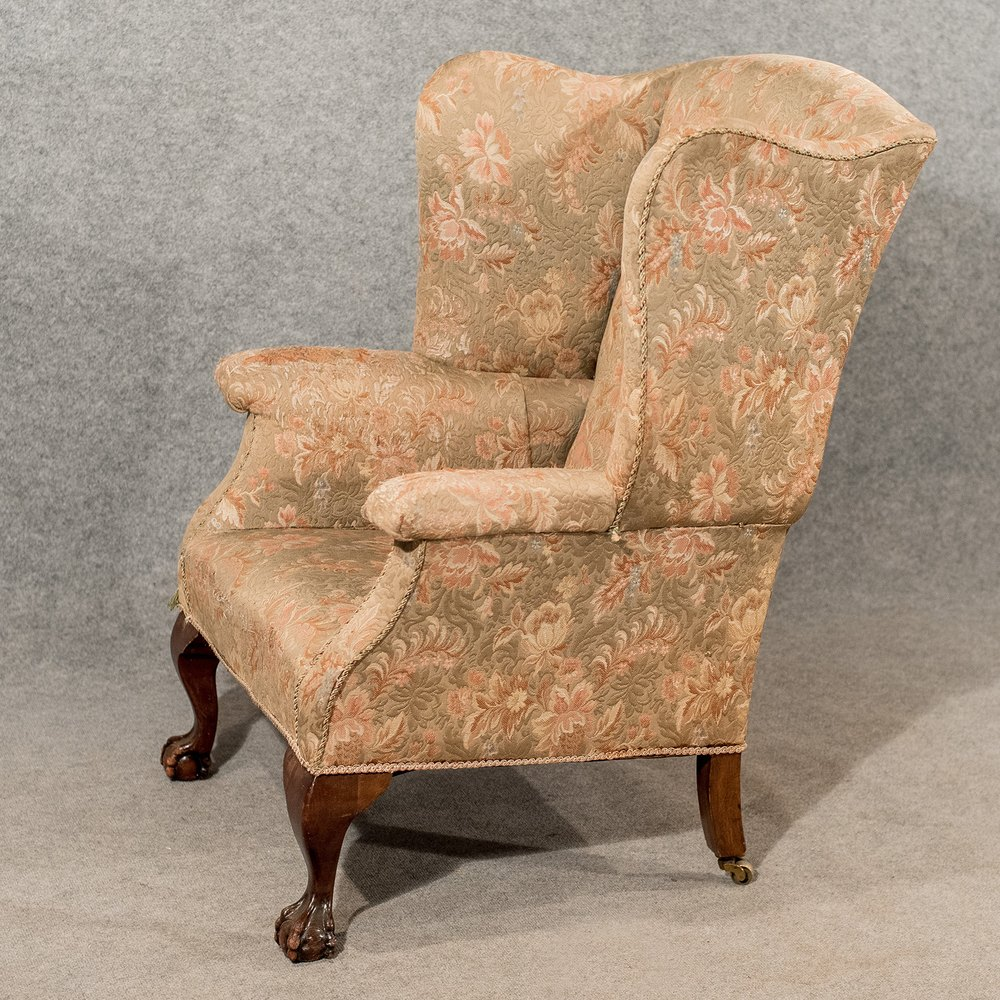 Antique large wing armchair wingback fire side antiques