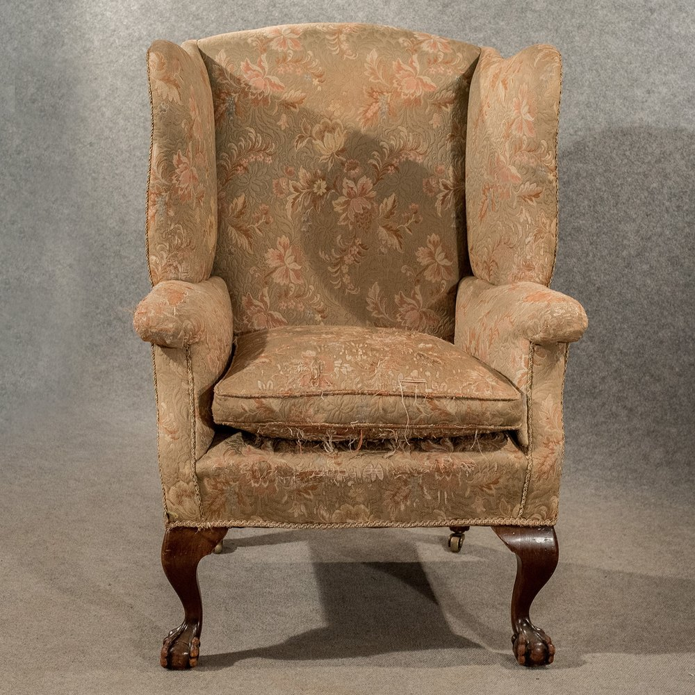 Antique large wing armchair wingback fire side antiques for Large armchair