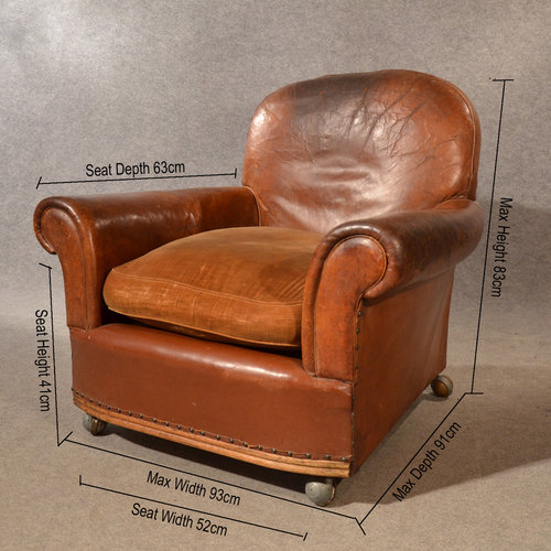 ... Antique Club Chairs ... - Antique Leather Armchair Vintage Club Easy Chair V - Antiques Atlas