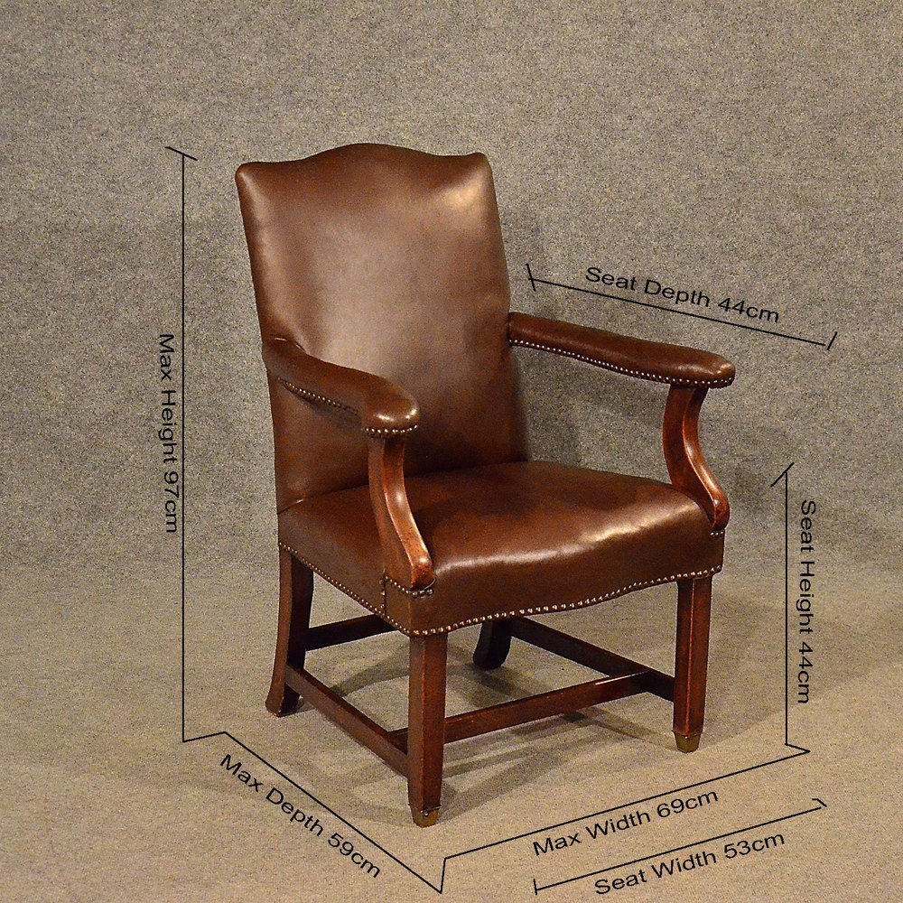 Antique Leather Study Chair Mahogany Frame Antiques Atlas