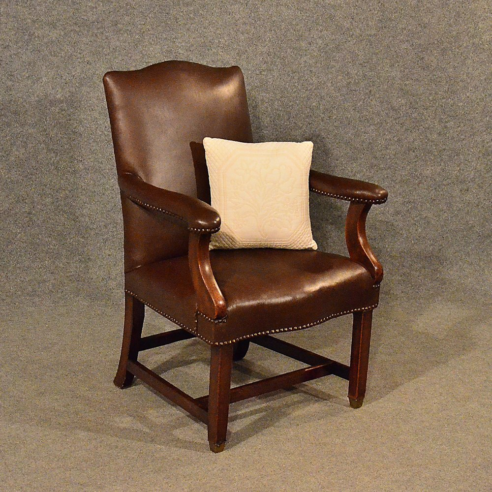 Antique leather study chair mahogany frame antiques atlas for Antique leather chairs