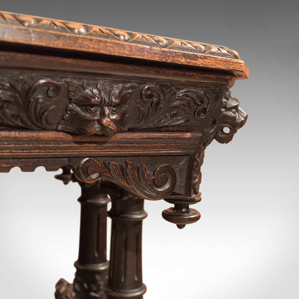 Antique Library Table Victorian Carved Oak Scottish