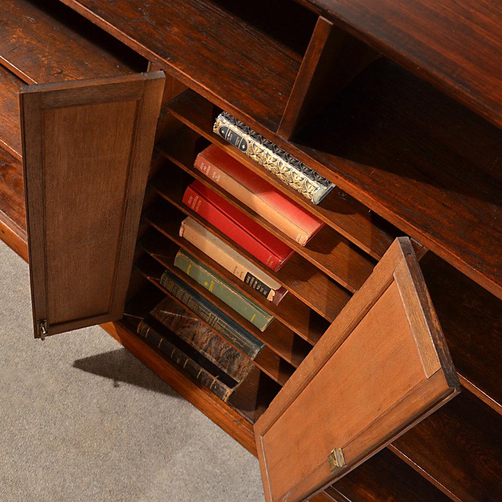 Antique Long Bookcase Large Oak Library Cabinet Antiques Atlas