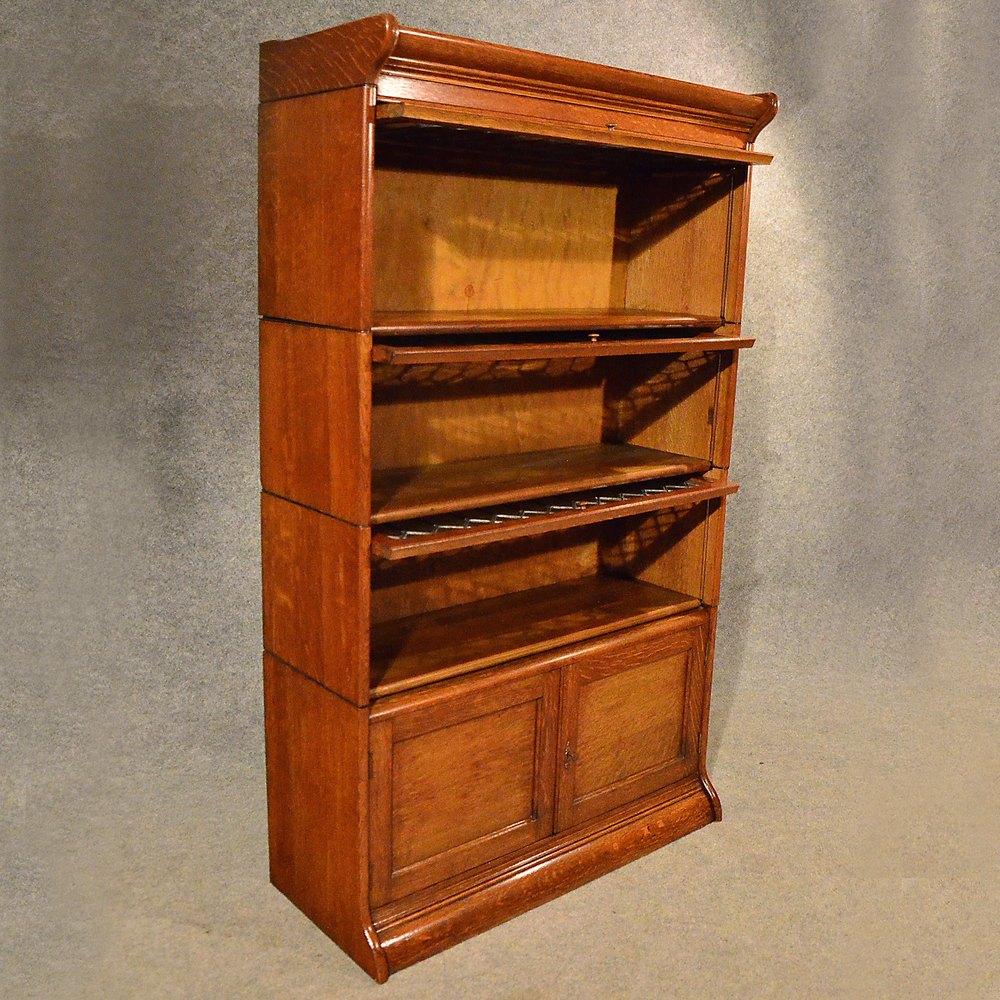 Antique Oak Bookcase Gunn Globe Wernicke Barrister Stacking Bookcases