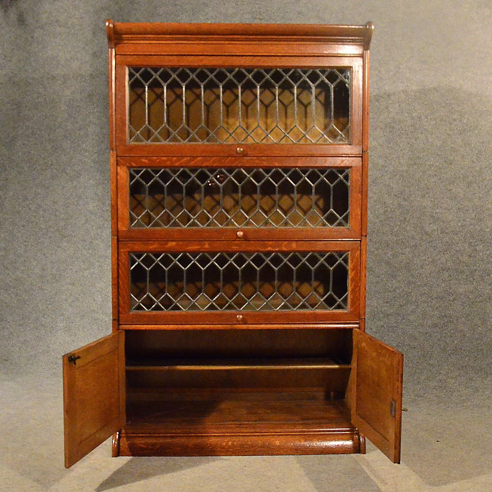 Antique Oak Bookcase Gunn Globe Wernicke Barrister