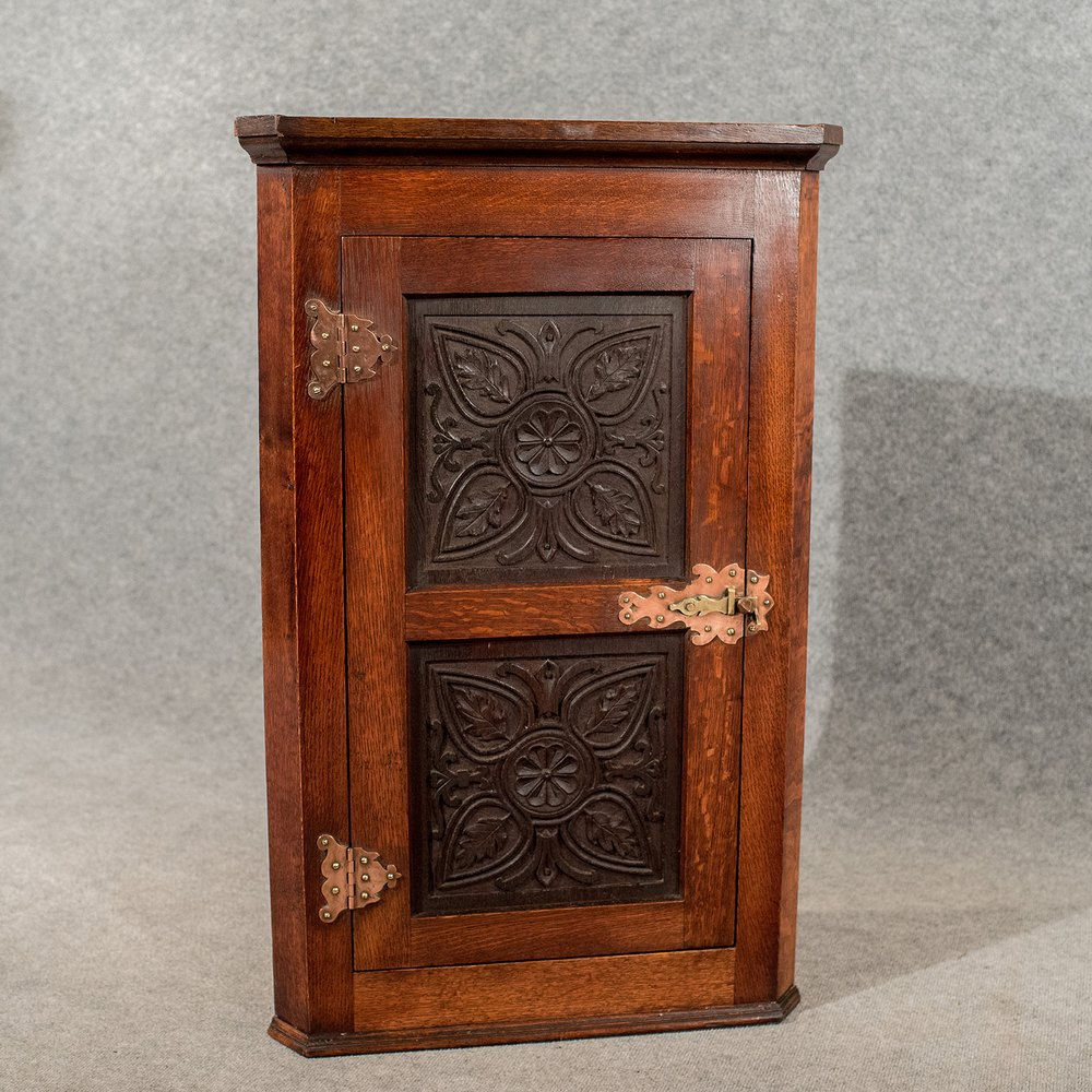 Antique Oak Carved Corner Cabinet Cupboard Antiques Atlas