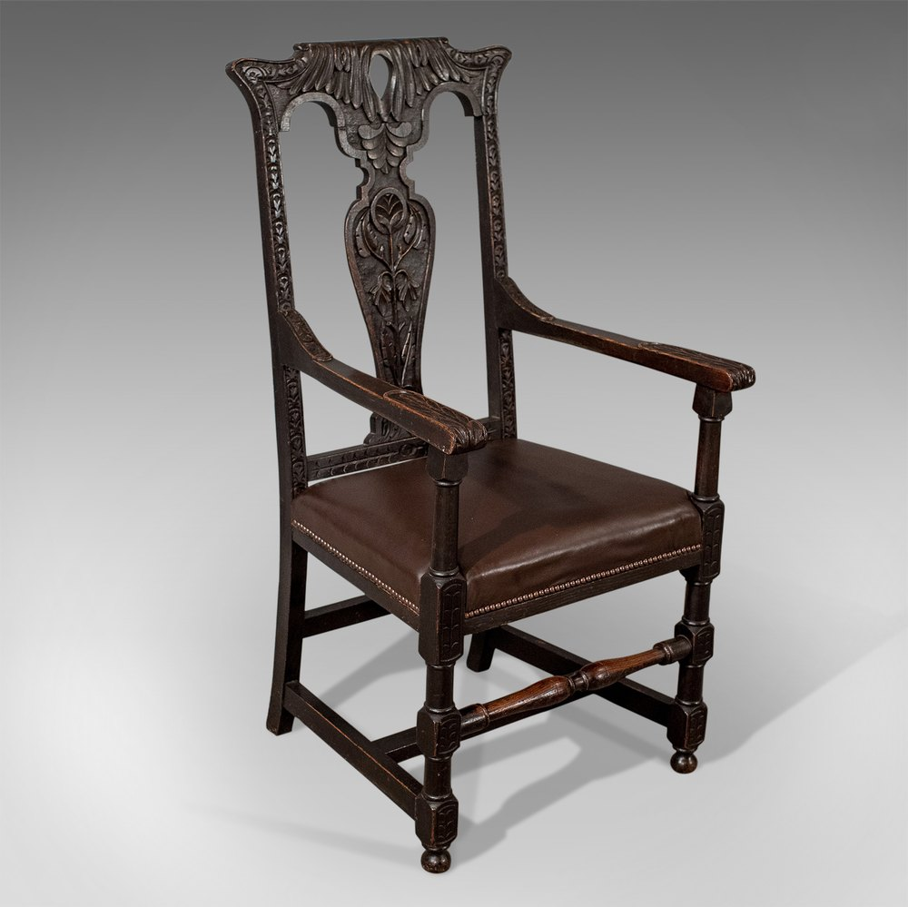 Antique Oak Carver Elbow Hall Dining Chair Leather