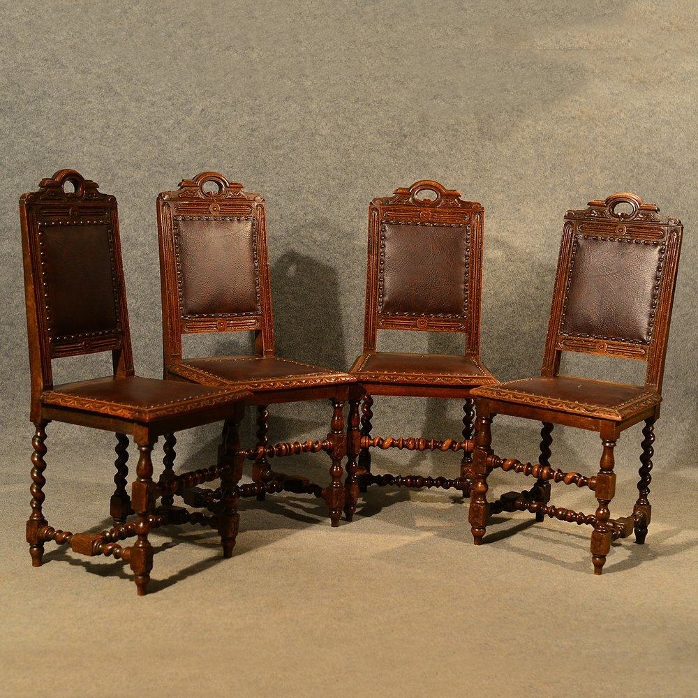 Antique Oak Chairs ~ Antique oak chairs set kitchen dining english antiques